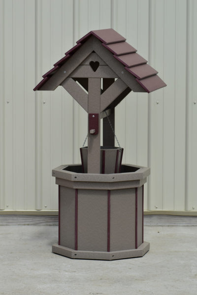 4 ft. Poly Wishing Well with Planter Bucket, Clay and Cherry