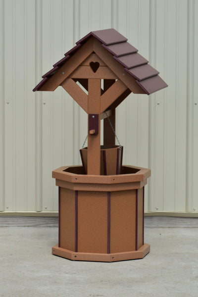 4 ft. Poly Wishing Well with Planter Bucket, Carmel and Cherry