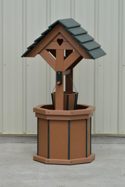 4 ft. Poly Wishing Well with Planter Bucket, Carmel and Green