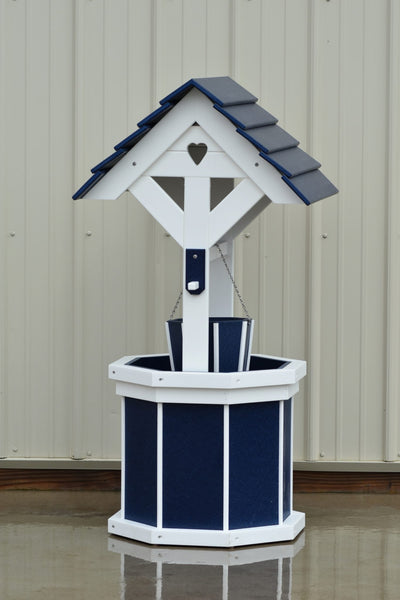 4 ft. Poly Wishing Well with Planter Bucket, Patriot Blue and White