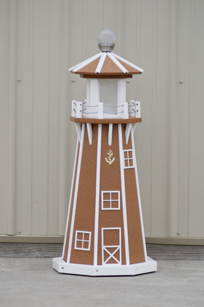 "39"" Octagon, Solar and Electric Powered  Poly Lawn Lighthouses, Carmel/white trim"