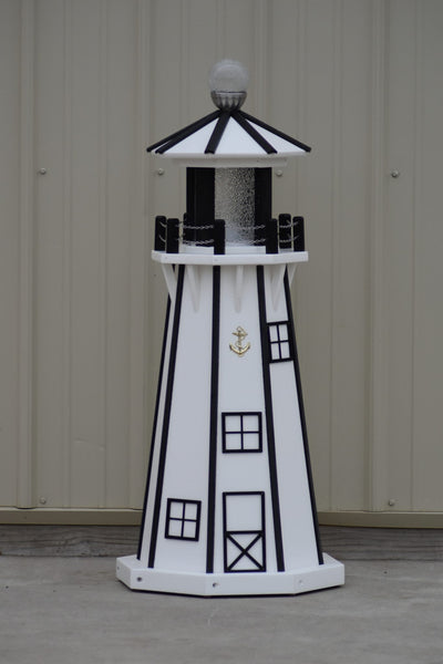 "39"" Octagon, Solar and Electric Powered  Poly, Lawn Lighthouse, White/ Black Trim"