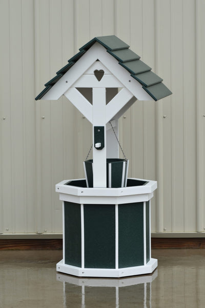 4 ft. Poly Wishing Well with Planter Bucket, Green and White