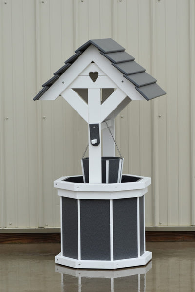 4 ft. Poly Wishing Well with Planter Bucket, Gray and White