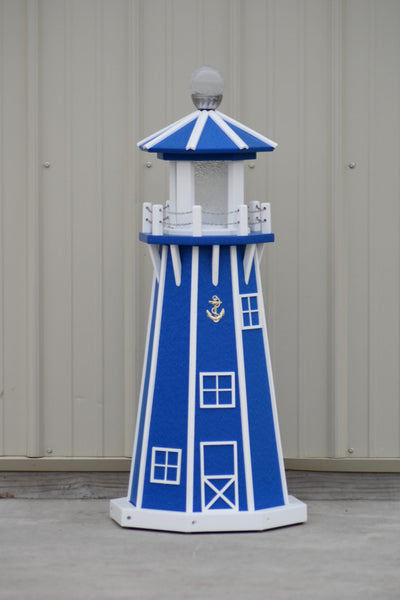 "39"" Octagon, Solar and Electric Powered  Poly Lawn Lighthouse, Blue with White Trim"