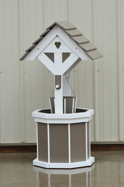 4 ft. Poly Wishing Well with Planter Bucket, Clay and White