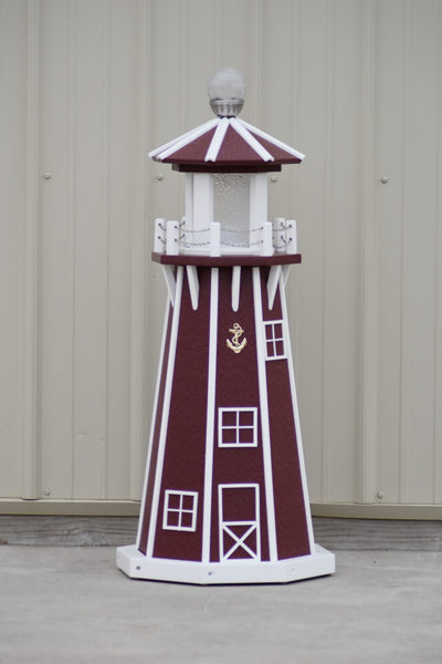 "39"" Octagon, Solar and Electric Powered  Poly, Lawn Lighthouse, Cherry/ White trim"