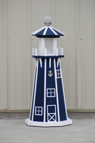 "39"" Octagon, Solar and Electric Powered  Poly, Lawn Lighthouses Patriot Blue with White Trim"