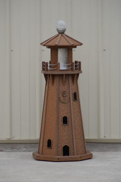 "39"" Octagon, Solar and Electric Powered  Poly, Lawn Lighthouse Antique Mahogany"