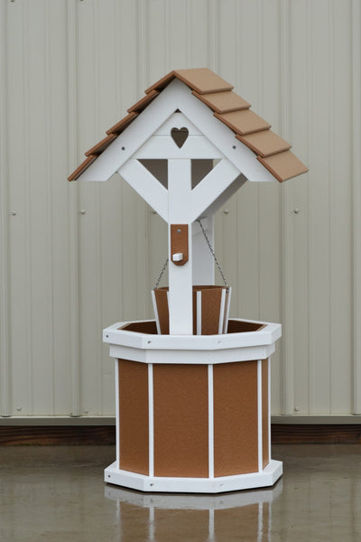 4 ft. Poly Wishing Well with Planter Bucket, Carmel and White