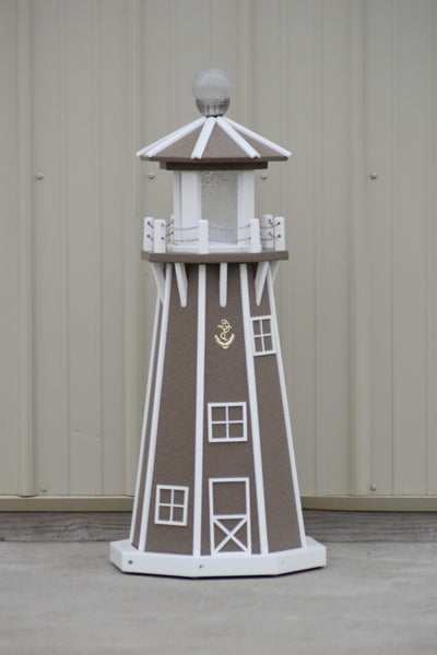 "39"" Octagon, Solar and Electric Powered  Poly, Lawn Lighthouses  Clay/white trim"