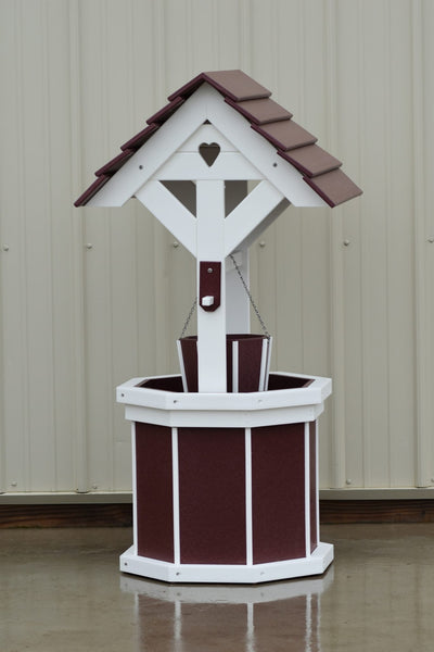 4 ft. Poly Wishing Well with Planter Bucket, Cherry and White