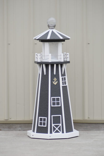 "39""  Octagon, Solar and Electric Powered  Poly Lawn Lighthouse, Gray/white trim"
