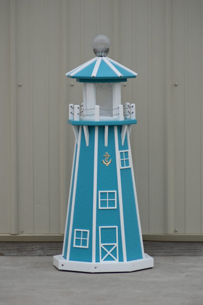 "39"" Octagon, Solar and Electric Powered  Poly, Lawn Lighthouses Aruba Blue with White Trim"
