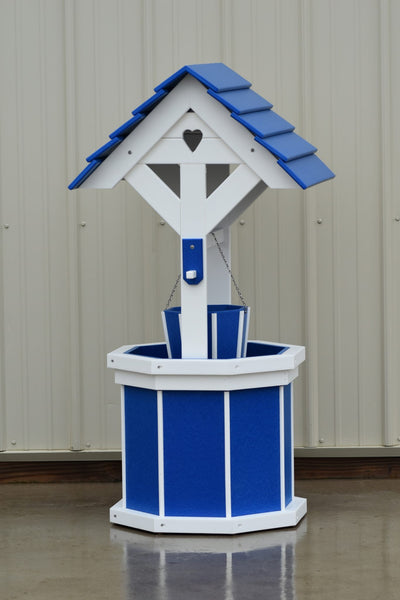 4 ft. Poly Wishing Well with Planter Bucket, Blue and White