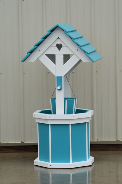 4 ft. Poly Wishing Well with Planter Bucket, Aruba Blue and White