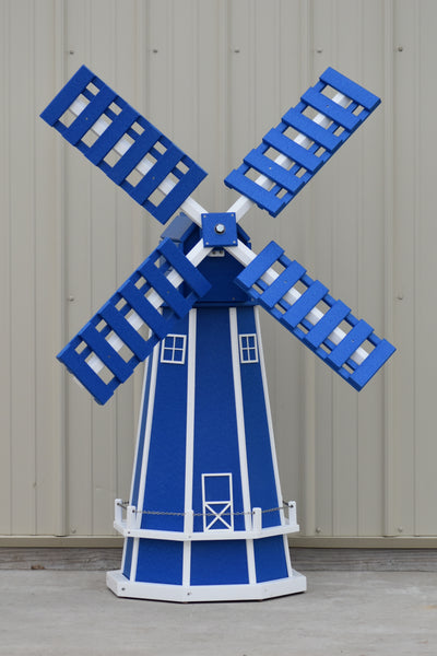 5 ft. Octagon Poly Dutch Windmill (Blue/white trim)