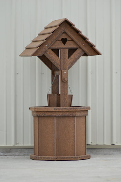 4 ft. Poly Wishing Well with Planter Bucket, Antique Mahogany