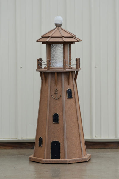 4 ft. Octagon Solar and Electric Powered Poly, Lawn Lighthouse Antique Mahogany