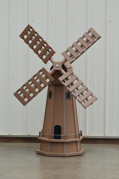 "5 ft. Octagon Poly Dutch Windmill Solid Antique Mahogany ""Wood Looking Windmills"""