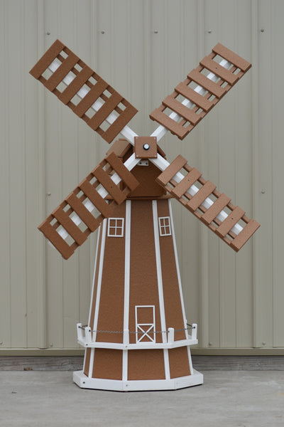 5 ft. Octagon Poly Dutch Windmill (Carmel with white trim)