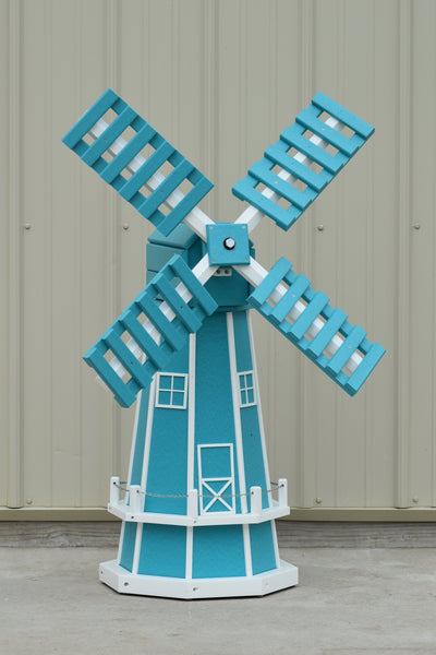 "46"" Octagon Poly Dutch Windmill, Aruba Blue with White Trim"