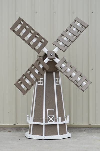 5 ft. Octagon Poly Dutch Windmills (Clay with White trim)