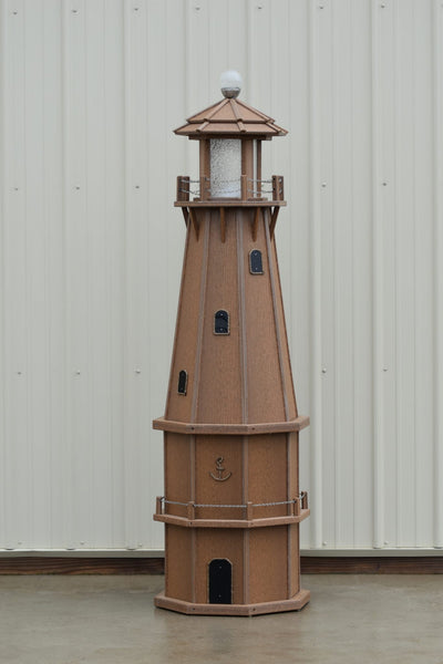 6 ft. Octagon Solar and Electric Powered Poly Lighthouse Antique Mahogany