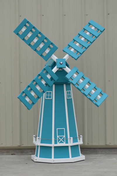 5 ft. Octagon Poly Dutch Windmill Aruba Blue with White Trim