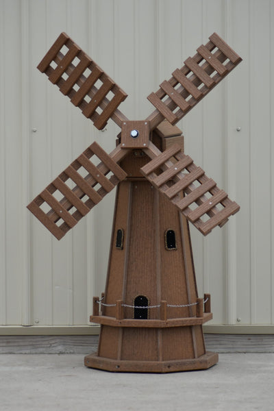 46 in. Octagon Poly Dutch Windmill, Antique Mahogany Wood Looking Windmills