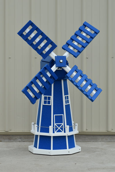 "46"" Octagon Poly Dutch Windmill, Blue/white trim"
