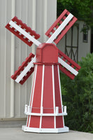 "46"" Octagon Poly Dutch Windmill, Red with White Trim"