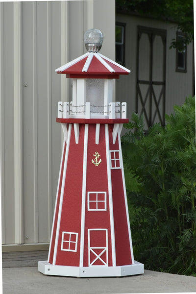 "39"" Octagon, Solar and Electric Powered  Poly Lighthouse, Red/white trim"