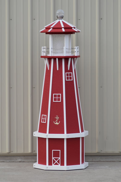 5 ft. Nautical Solar and Electric Powered Poly Lighthouse Red with White Trim