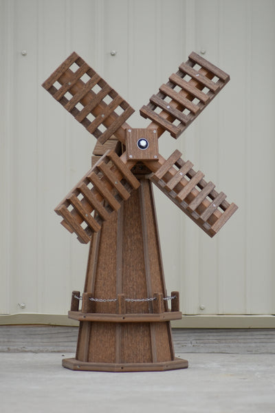 30 inch Octagon, Decorative, Spinning Poly Dutch Windmill (Antique Mahogany)