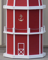 6 ft. Octagon Solar and Electric Powered Poly Lighthouse Red and White