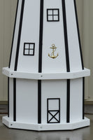 5 ft. Octagon Solar and Electric Powered Poly Lighthouses White/Black Trim