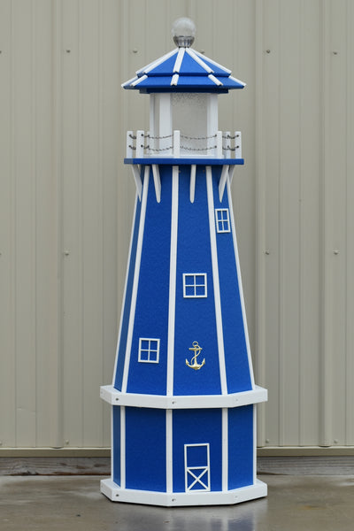 5 ft. Octagon Solar and Electric Powered Poly Lighthouses, Blue/white trim
