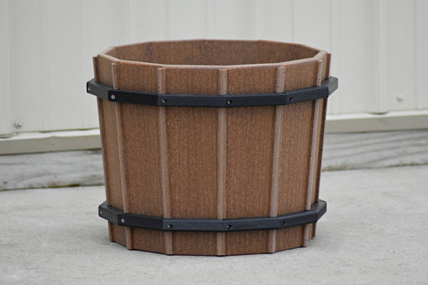 16 inch Barrel Flower Pot, Hand Crafted from Poly Lumber