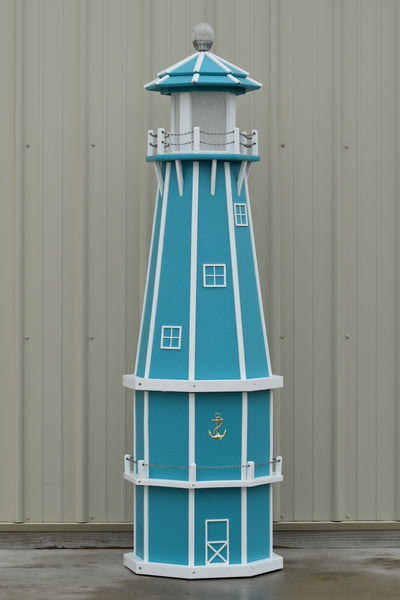 6 ft. Octagon Solar and Electric Powered Poly Lighthouse Aruba Blue with White trim