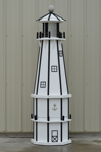 6 ft. Octagon Solar and Electric Powered Poly Lighthouse White and Black