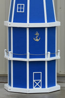 6 ft. Octagon Solar and Electric Powered Poly Lighthouses, Blue/white trim