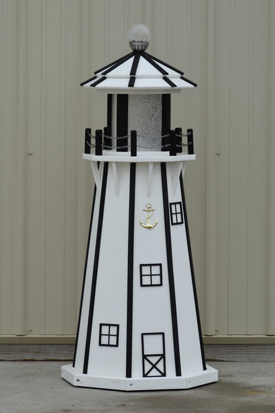 4 ft. Octagon Solar and Electric Powered Poly Lawn Lighthouses, White/Black Trim