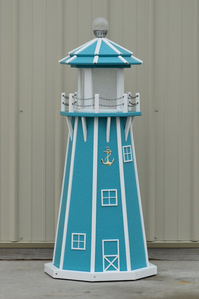 4 ft. Octagon Solar and Electric Powered Poly Garden Lighthouses Aruba Blue and White