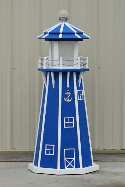 4 ft. Octagon Solar and Electric Powered Poly Garden Lighthouses Blue and White