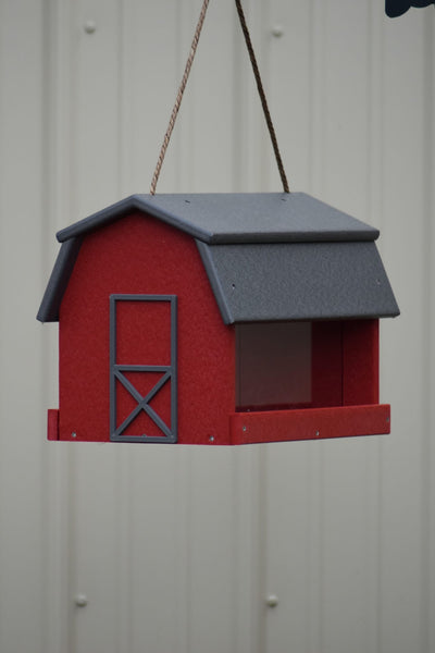 Poly-wood Mini Barn Large Handcrafted Hanging Bird feeder, Song bird Essentials