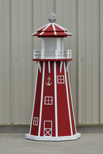 4 ft. Octagon Solar and Electric Powered Poly Yard Lighthouse, Red/white trim