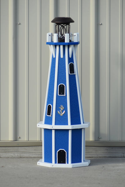 "32"" Octagon; Solar Powered Poly Lighthouses, Blue/white trim"