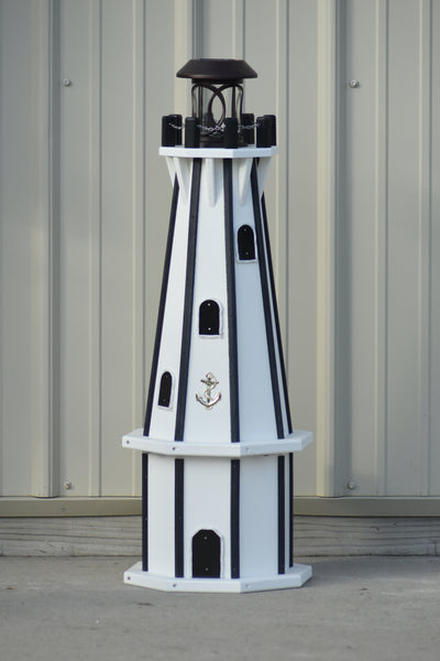 "32"" Octagon; Solar Powered Poly Lighthouses, White/Black trim"