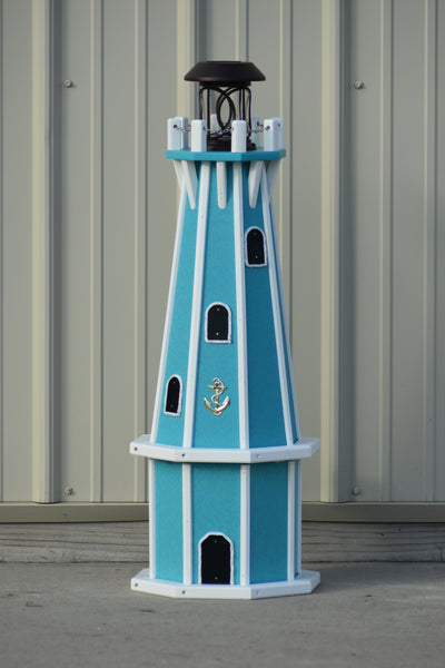 "32"" Octagon; Solar Powered Poly Lighthouses Aruba Blue with White Trim"